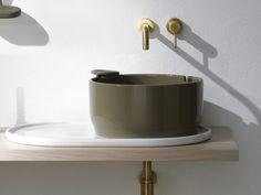 Lavabo da appoggio rotondo in ceramica con troppopieno Collezione Ukiyo-e by Olympia Ceramica