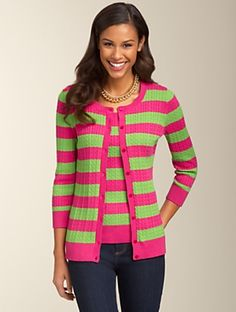 Talbots - Baby Cable Stripe in bright pink and green!