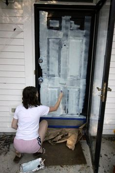 how to paint your front door - love this mint aqua color! Front Door Makeover - Charleston Crafted