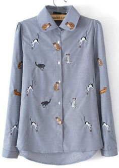 cat print button blouse - could be recreated by embroidering or fabric painting cats onto a blouse (or just the collar)