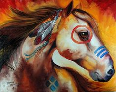 painted ponies war horse | Art: WINDFIRE WARRIOR ~ INDIAN WAR PONY by Artist Marcia Baldwin