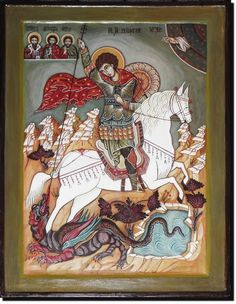 Made only on demand. George & Dragon, Saint George And The Dragon, Handmade Paint, Byzantine Icons, Orthodox Icons, Sacred Art, Christian Art, Illuminated Manuscript, Painting Techniques