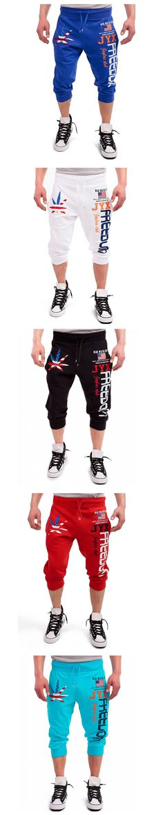 Fashion 2017 Men 's Pants Maple Leaf American Flag Print Design Casual Capri Pants Hip Hop Street Boy Black Drawstring Pants