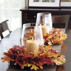 Fabulous Fall Centerpieces w/Glass Hurricane, Candle and Wreath of Leaves