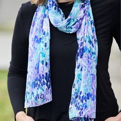 Lightweight chiffon, dotted with purples and blues, creates a perfect scarf for warmer weather. Made in Mumbai, India. Each is handmade with care by Asha Handicrafts makers. A not-for-profit organization, Asha works to ensure that benefits of handicraft production reach the craftspeople themselves.