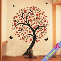 cute abstract tree love heart Removable Wall Art by extradesign