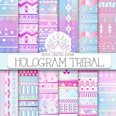 """Tribal digital paper: """"HOLOGRAM TRIBAL"""" with tribal, aztec pattern, backgrounds in pink, mint, watercolor for scrapbooking, invitations #tribal #digitalpaper #scrapbookpaper #watercolor #planner #partysupplies #pink #mint"""