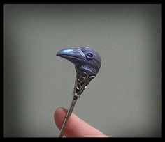 Lavender Raven Sculpted Hair Stick Polymer Clay by dreamtrappings