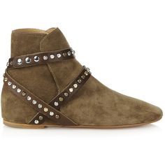 Isabel Marant Étoile studded-straps suede ankle boots ($160) ❤ liked on Polyvore featuring shoes, boots, ankle booties, tan, suede boots, short boots, suede ankle boots, tan ankle boots and strappy ankle boots