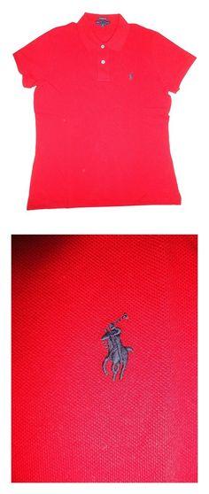 $34.97 - Ralph Lauren Women's Skinny Polo Pony Logo T-Shirt RL 2000 Red #ralphlauren
