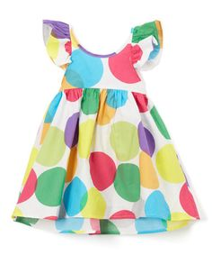 Look what I found on #zulily! Green Polka Dot Angel-Sleeve Dress - Infant, Toddler & Girls #zulilyfinds