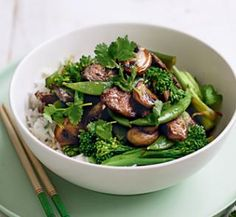 Stir-fried beef with mushrooms, peas and broccolini   Australian Healthy Food Guide