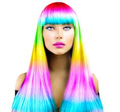 123RF - Millions of Creative Stock Photos, Vectors, Videos and Music Files For Your Inspiration and Projects. Professional Hair Color, Professional Hairstyles, Natural Dark Hair, Pelo Multicolor, Fashion Models, Fashion Beauty, Sunset Hair, Fringe Haircut, Candy Hair