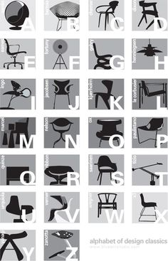 Alphabet of chair design [Infographic] Design Furniture, Chair Design, Modern Furniture, Icon Design, Design Art, Graphic Design, Brand Design, Layout, Design Innovation