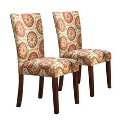 HomePop Parsons Classic Dining Chair Room Tables Set of 2 Orange Suzani ** Details can be found by clicking on the image. (This is an affiliate link and I receive a commission for the sales) Patterned Dining Chairs, Parsons Dining Chairs, Dining Chair Set, Dining Room Chairs, Dining Room Furniture, Kitchen Chairs, Kitchen Dining, Desk Chairs, Furniture Deals