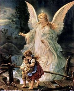 I have this painting in my house. Guardian Angel and Children Crossing Bridge Painting by Lindberg Heilige Schutzengel Guardian Angel Pictures, Guardian Angels, Angel Images, Angels Among Us, Real Angels, Angel Protector, I Believe In Angels, Angel Prayers, Angels In Heaven