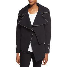 CoSTUME NATIONAL Oversized-Collar Draped Jacket (£750) ❤ liked on Polyvore featuring outerwear, jackets, costume national, woven jacket, drape jacket, black and white jacket and oversized jacket