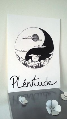 "Affiche Illustration Noir et blanc "" yin et yang plénitude "" Black And White Illustration, Pen Art, Beautiful Drawings, Diy Embroidery, Illustrations Posters, Art Inspo, Painting & Drawing, Art Drawings, Artsy"