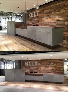 Cement sales counter for KULT by Arrangio Office Counter Design, Cash Counter Design, Office Reception Design, Medical Office Design, Corporate Office Design, Modern Office Design, Office Interior Design, Office Interiors, Back Bar Design