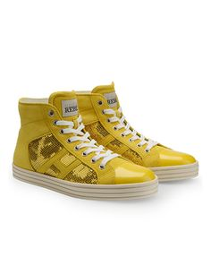 HOGAN REBEL Women's Spring - Summer 2013 collection: suede High-Top Sneakers, with patent leather toecap and sequined panels.