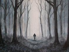 Ködös erdő#misty forest#akril#acrilyc#vászon#canvas#18x24cm