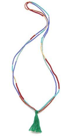 tassel necklace.