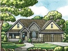 French Country Style House Plans - 2495 Square Foot Home , 2 Story, 4 Bedroom and 3 Bath, 3 Garage Stalls by Monster House Plans - Plan 10-1464