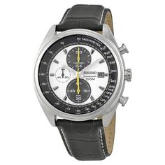 Seiko Neo Sport Chronograph Black and White Dial Black Leather Men's Watch SNDF93P1 - Chronograph - Seiko - Watches  - Jomashop