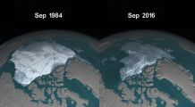 """NASA posted this video to YouTube with this description, """"Arctic sea ice has not only been shrinking in surface area in recent years, it's becoming younger and thinner as well. In this animation, where the ice cover almost looks gelatinous as it pulses through the seasons, cryospheric scientist Dr. Walt Meier of NASA Goddard Space Flight Center describes how the sea ice has undergone fundamental changes during the era of satellite measurements."""""""