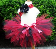 LadyBug Red and Black Pixie Cut Tutu Infant Tutu with Matching Crocheted Headband Set Size Newborn to 24 months