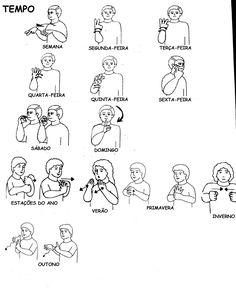 LIBRAS- Dias da semana e estações do ano (RS) Libra Dias, Sign Language, Signs, Learning, Words, Special Needs Teaching, Special Education, Deaf Children, Languages