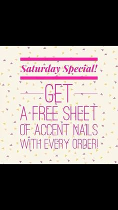 Happy Saturday! All orders placed today will received a special gift from me: FREE ACCENT NAIL sheet! How sweet is that?? Jamberry Nail Wraps make GREAT GIFTS! Start stocking up on those holiday wraps and stocking stuffers! Happy shopping!  http://www.mollyjwebb.jamberrynails.net/