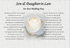Wedding Gift for son and Daughter In Law Daughter & son In Law Wedding Day Poem T Rose Christmas Gifts for son In Law Wedding T Colleague Wedding Day Quotes, Best Wedding Speeches, Wedding Poems, On Your Wedding Day, Wedding Cards, Wedding Gifts, Wedding Sayings, Wedding Decor, Wedding Ceremony