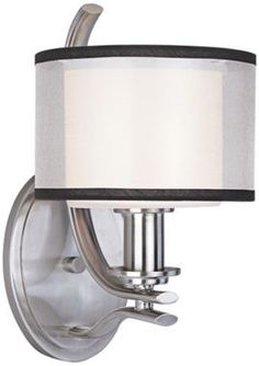 Orion Satin Nickel with White Modern Maxim Wall Sconce - Euro Style Lighting