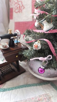 Ash Tree Cottage ~ a mini sewing room deserves a special mini Christmas tree