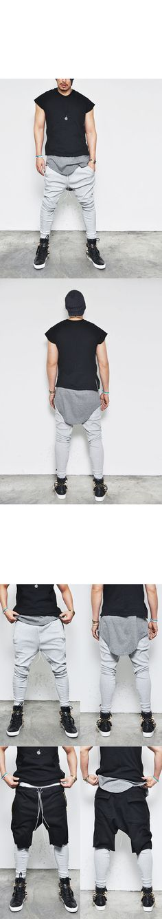 Bottoms :: Sweatpants :: Designer's Drop Baggy Drawcord Leggins-Sweatpants 100 - Mens Fashion Clothing For An Attractive Guy Look