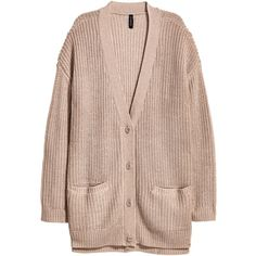 Chunky-knit Cardigan $34.99 ($35) ❤ liked on Polyvore featuring tops, cardigans, thick knit cardigan, pink top, button cardigan, v neck cardigan and pink cardigan