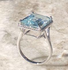 Aquamarine Diamond Ring, Large Aquamarine Ring,Aquamarine Halo Ring,14x12 Aquamarine Ring,Aquamarine Halo Engagement Ring by MasalaJewelry on Etsy