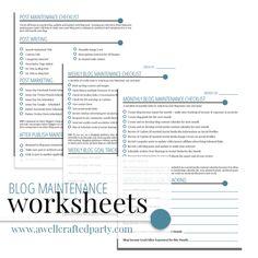 Blog Maintenance Worksheets Free Printables