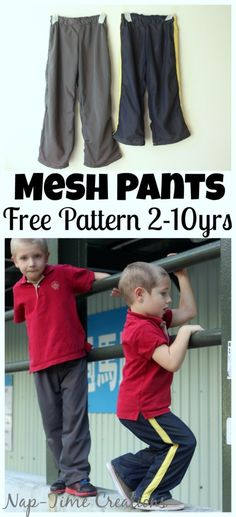 Mesh Pants pattern and tutorial. Free pattern in kids size 2-10, perfect for the active boys in your life.