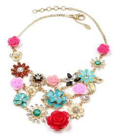 Another great find on #zulily! Gold & Pink Flowering Jasmine Bib Necklace by Amrita Singh #zulilyfinds