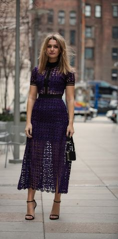 Looking for more Purple fashion & street style ideas? Check out my board: Purple Street Style by Street Style // Purple Fashion // Spring Outfit SELF-PORTRAIT DRESS Pretty Dresses, Beautiful Dresses, Lace Dresses, Lace Dress Styles, Dress Skirt, Dress Up, Dress Shoes, Swag Dress, Self Portrait Dress