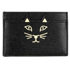 Womens Cardholders Charlotte Olympia Feline Black Leather Card Holder ($195) ❤ liked on Polyvore featuring bags, wallets, black leather wallet, 100 leather wallet, card case wallet, real leather wallet and leather bags