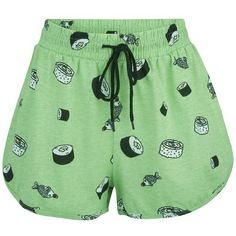 MINKPINK Women's That's How We Roll Shorts - Wasabi ($33) ❤ liked on Polyvore featuring shorts, bottoms, pajamas, multi, green shorts, patterned shorts, rolled shorts, minkpink and roll up shorts