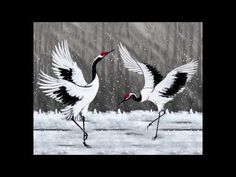 A New Year's Greeting of Dancing Cranes- by Lucy Wang 范璐.mov ... Beautiful artwork with Chinese music and crane sounds in the background.