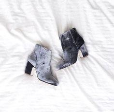 Beautiful blue grey velvet booties