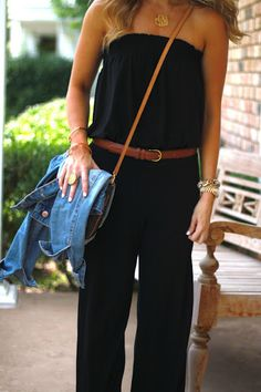 Looks comfy and cute!! Black romper with brown belt... perfect for travel days