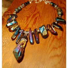 Amazing electroplated agate, raw quartz point bohemian statement... ($27) ❤ liked on Polyvore featuring jewelry, necklaces, etsy shop, beaded collar necklace, boho necklace, crystal necklace, druzy necklaces and boho beaded necklace