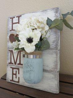 "Mason Jar Flowers ""Home"" Wood Wall Hanging #DIYHomeDecorcrafts"