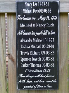 Family Story  Important Date Sign Wedding Gift  by CSSDesign, $55.00